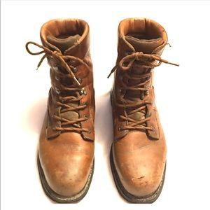 "Wolverine dura shocks leather 8"" steel toe 🥾 boot"